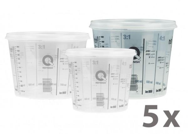 Mischbecher & Deckel - 1,4 Liter, 5er Pack